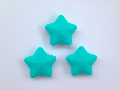 Turquoise Faceted Star Silicone Bead