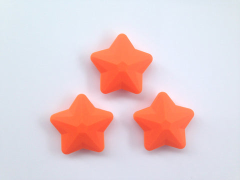 Orange Faceted Star Silicone Bead