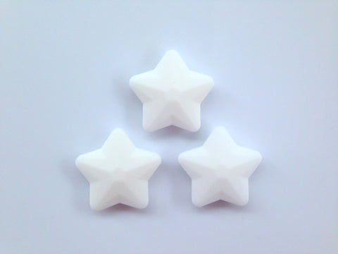 White Faceted Star Silicone Bead