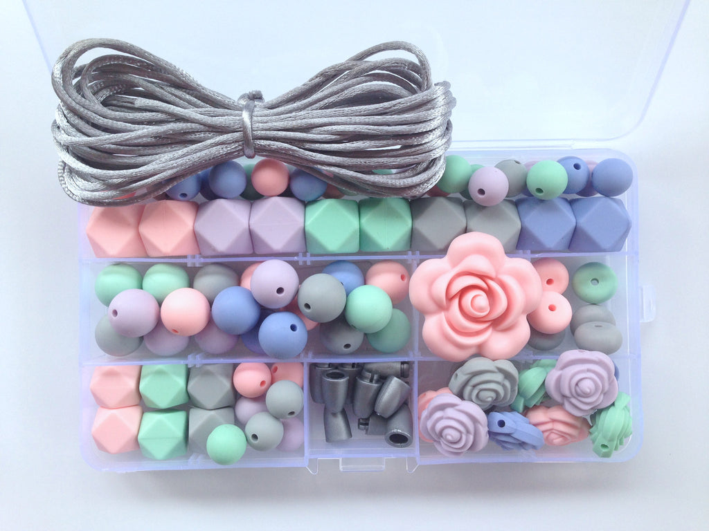 Pink Quartz, Tranquility Blue, Lavender Mist, Mint & Light Gray Silicone Deluxe Necklace Kit