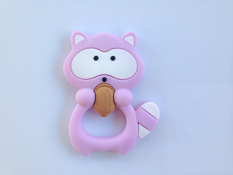Sweet Lilac Raccoon Silicone Teether