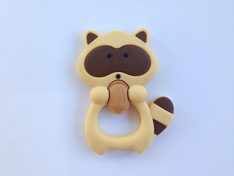 Brown Raccoon Silicone Teether
