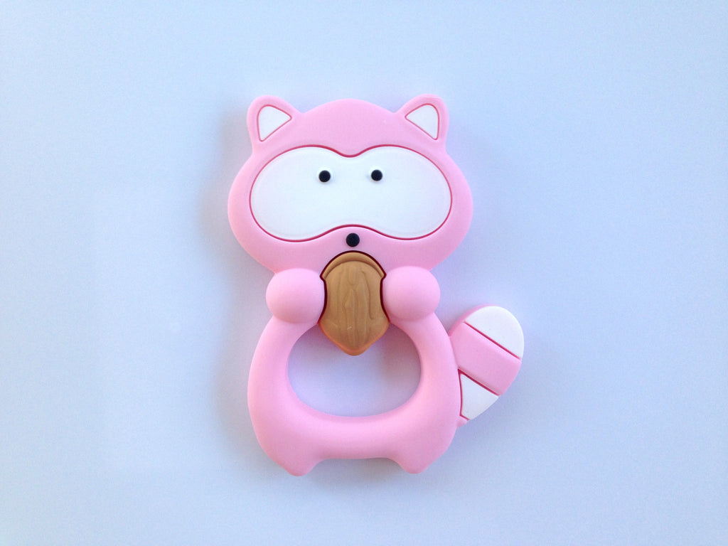 Pink Raccoon Silicone Teether