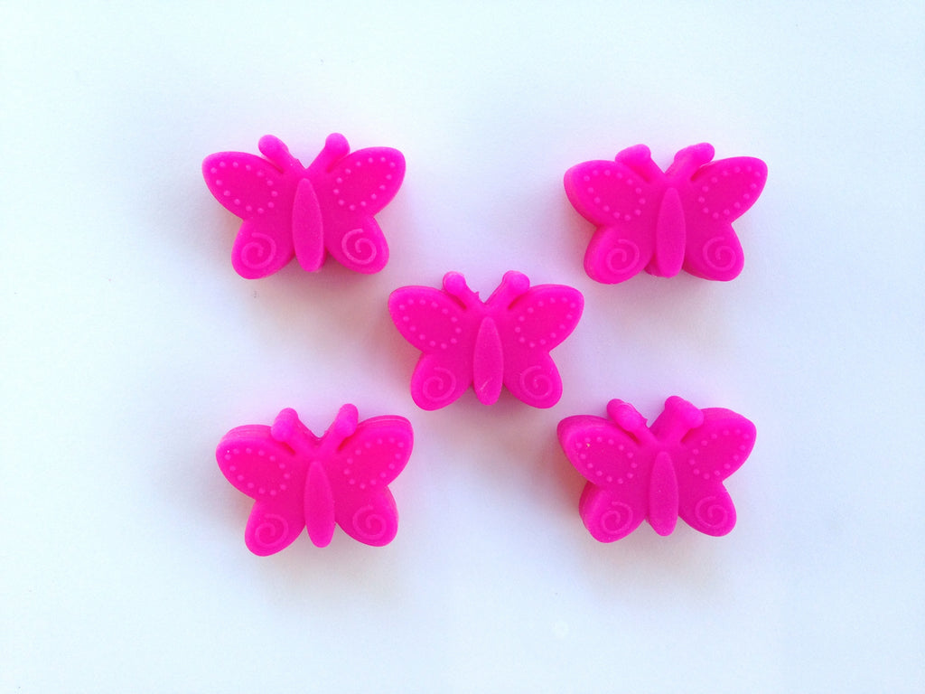 Hot Pink Silicone Butterfly Beads