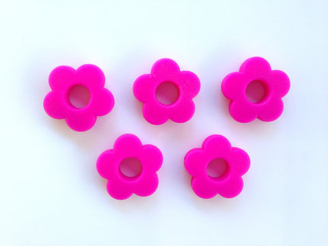 Hot Pink Mini Silicone Flower Beads