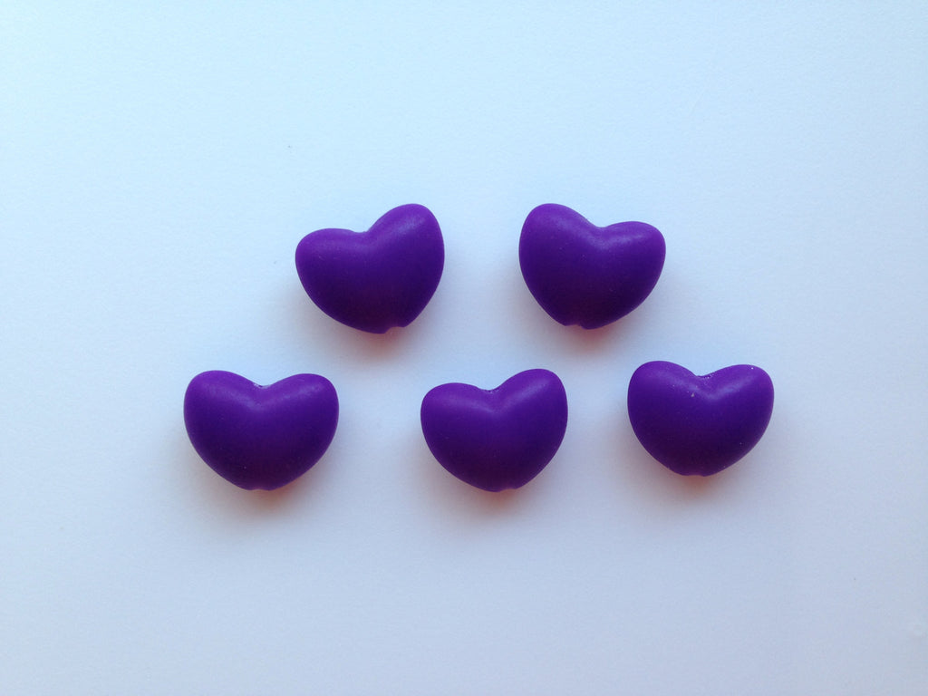 Purple Passion Heart Silicone Teething Beads