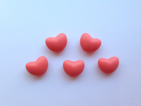 Coral Heart Silicone Teething Beads