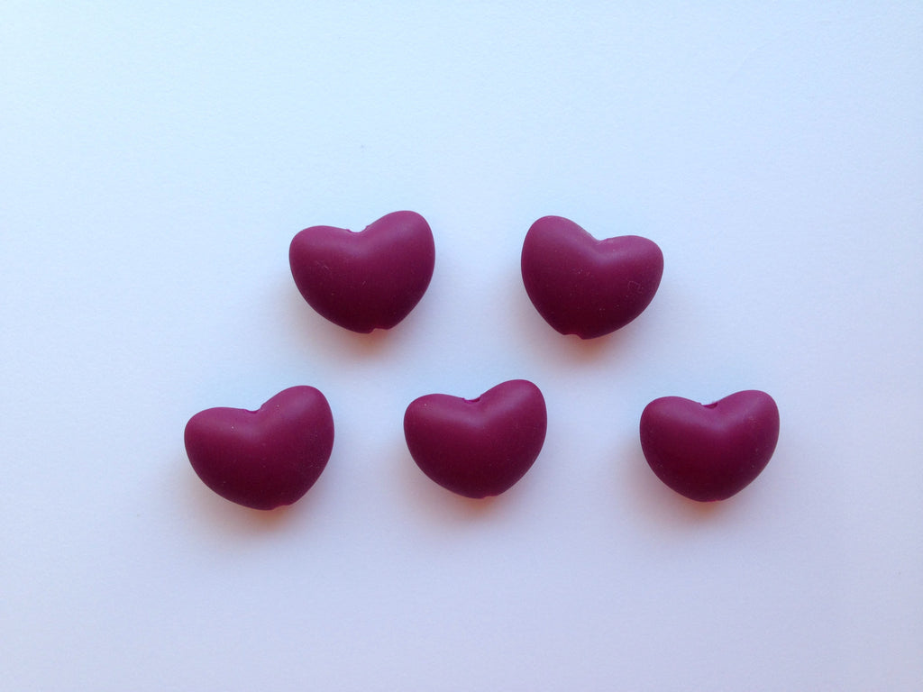 Wine Heart Silicone Teething Beads