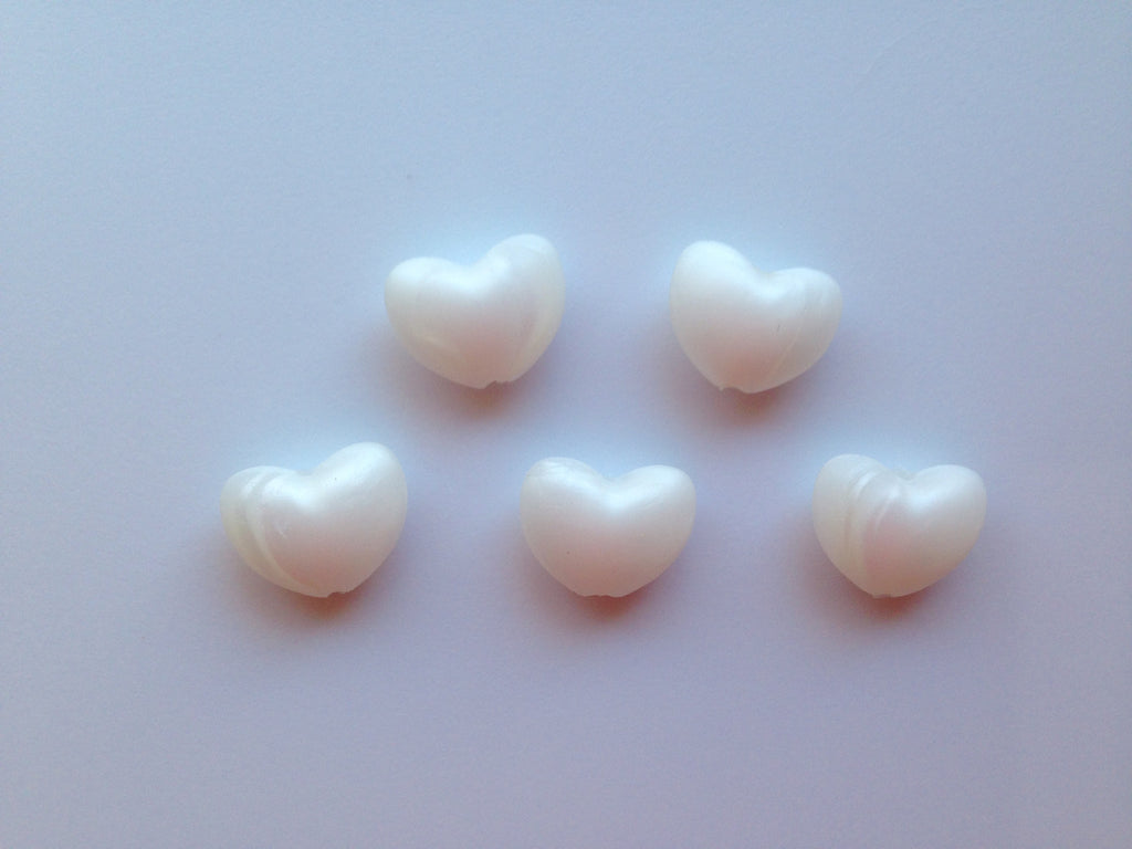 Metallic White Heart Silicone Teething Beads
