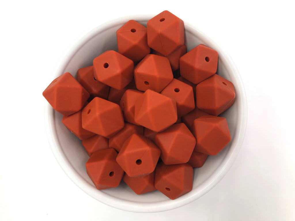 Rust Hexagon Silicone Beads