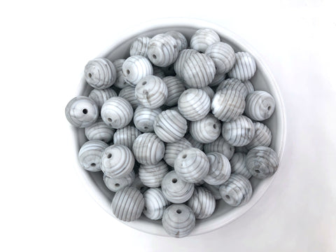 15mm Marble Silicone Beehive Beads