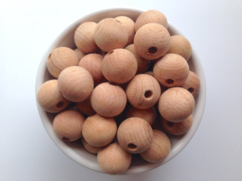 20mm Natural Beech Wood Round Teething Beads