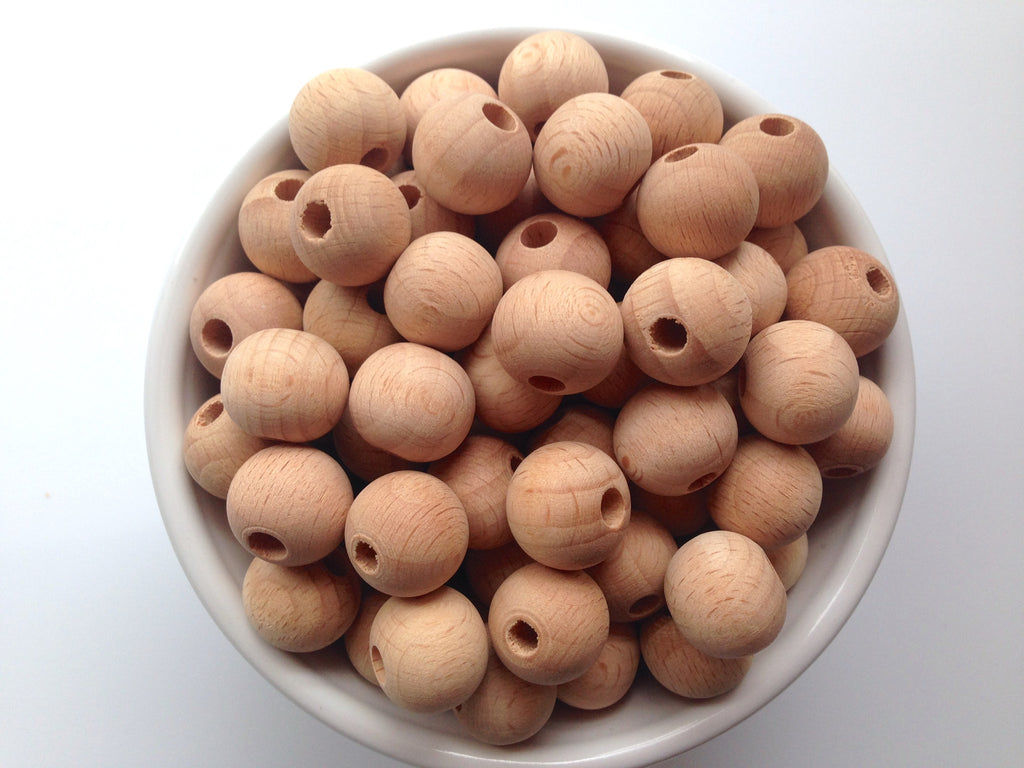 15mm Natural Beech Wood Round Teething Beads