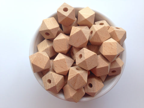 17mm Natural Beech Wood Hexagon Beads