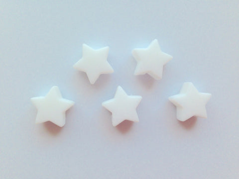 5 White Mini Star Silicone Beads