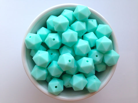 14mm Aqua Mini Icosahedron Silicone Beads