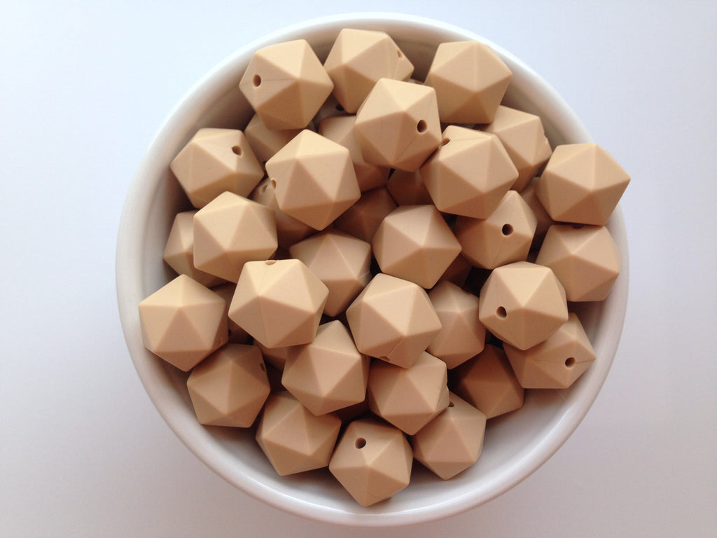 14mm Oatmeal Mini Icosahedron Silicone Beads