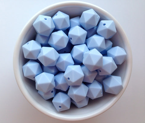 14mm Baby Blue Mini Icosahedron Silicone Beads