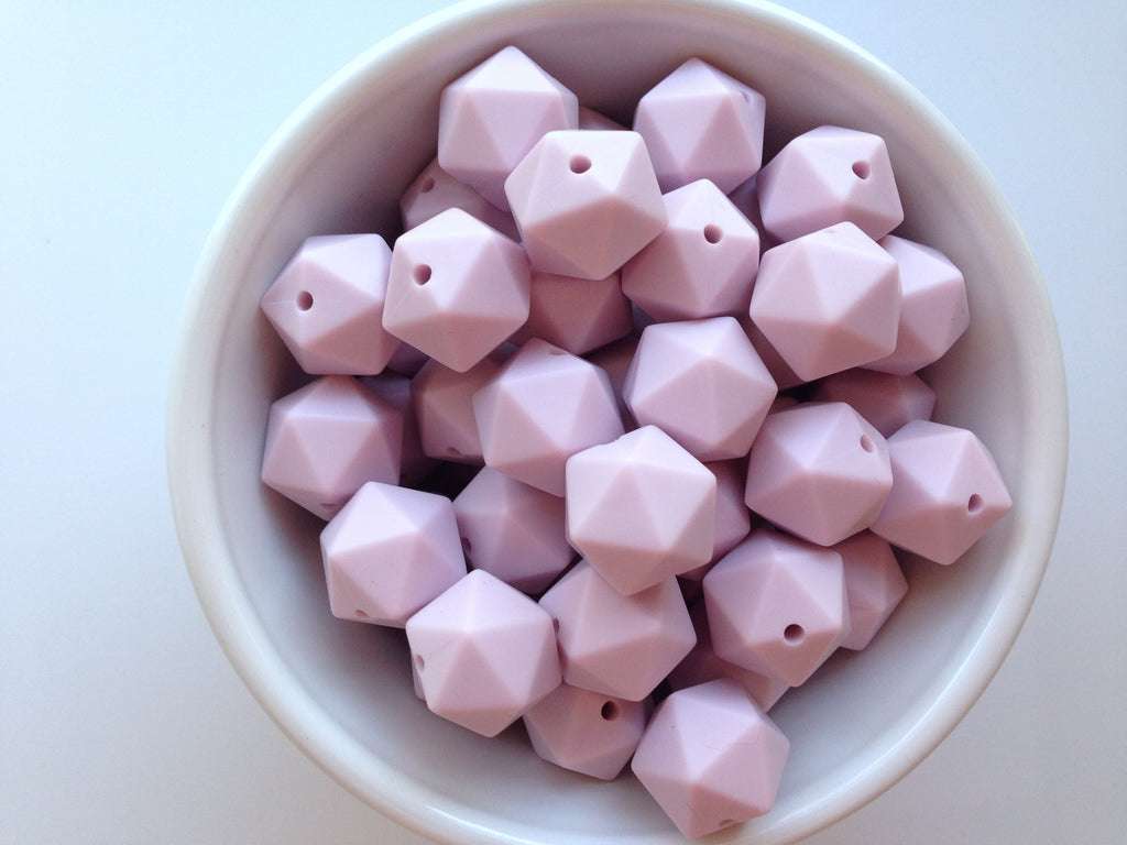 14mm Lilac Mini Icosahedron Silicone Beads
