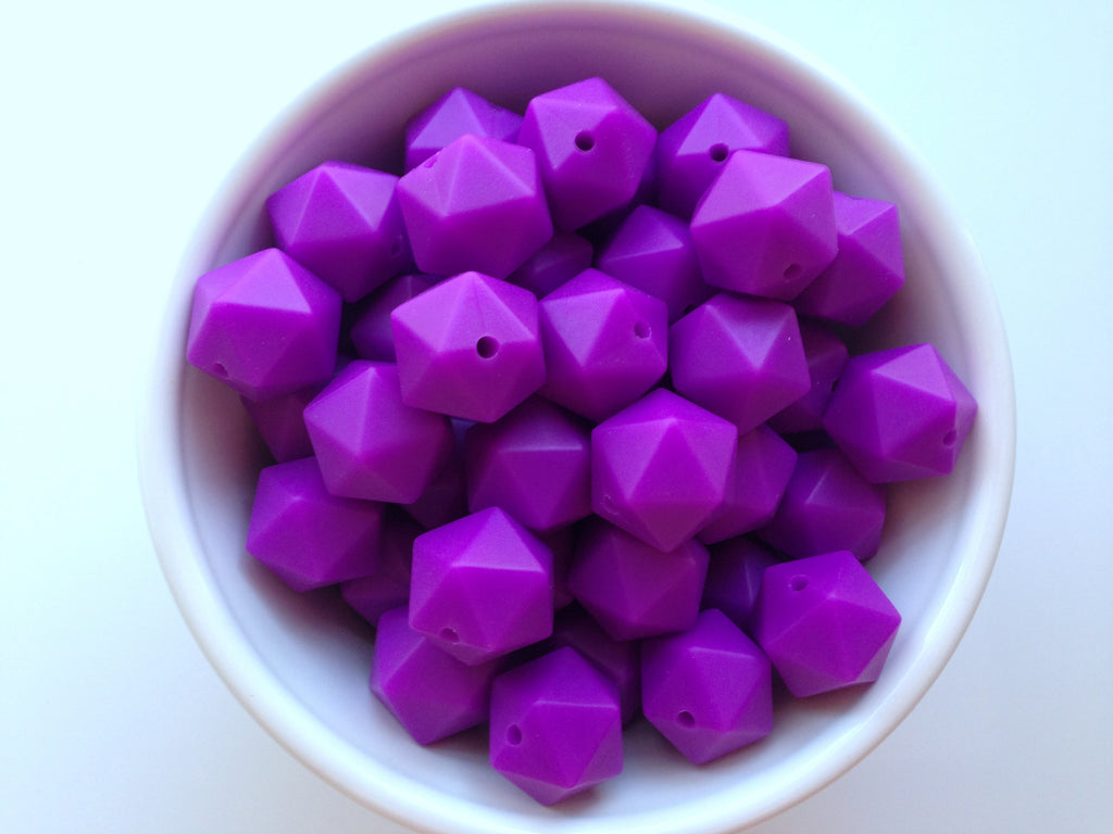 14mm Royal Purple Mini Icosahedron Silicone Beads