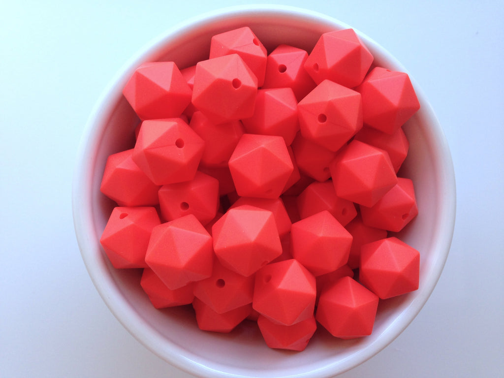 14mm Coral Red Mini Icosahedron Silicone Beads