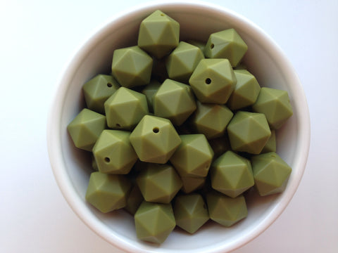 14mm Army Green Mini Icosahedron Silicone Beads