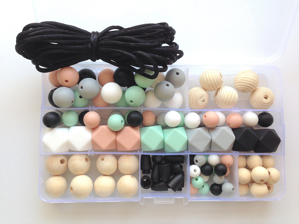 White, Mint, Peach, Light Gray & Black Silicone & Wood DIY Necklace Kit