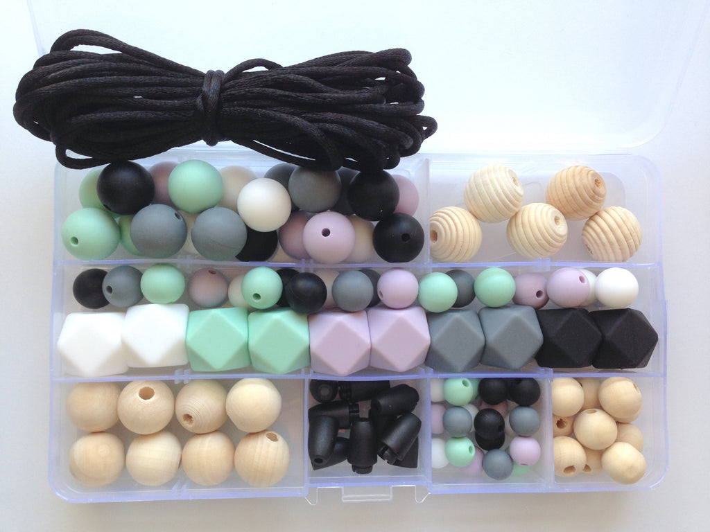 White, Lilac, Mint, Black & Gray Silicone & Wood DIY Necklace Kit