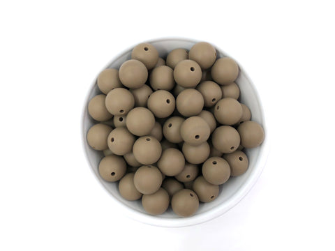 15mm Cappuccino Silicone Beads