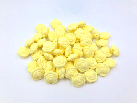 Light Yellow Mini Silicone Rose Flower Beads
