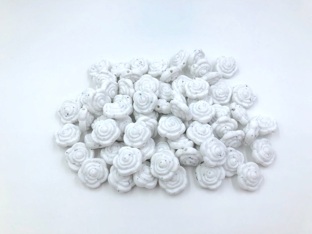 Speckled Mini Silicone Rose Flower Beads