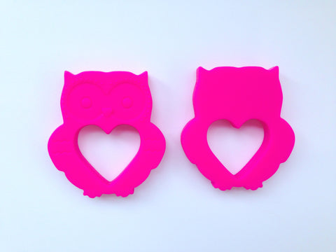 Hot Pink Mini Owl Silicone Teether