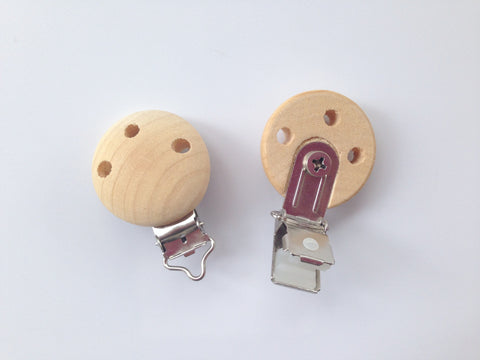 Natural Unfinished Wood Pacifier Clips