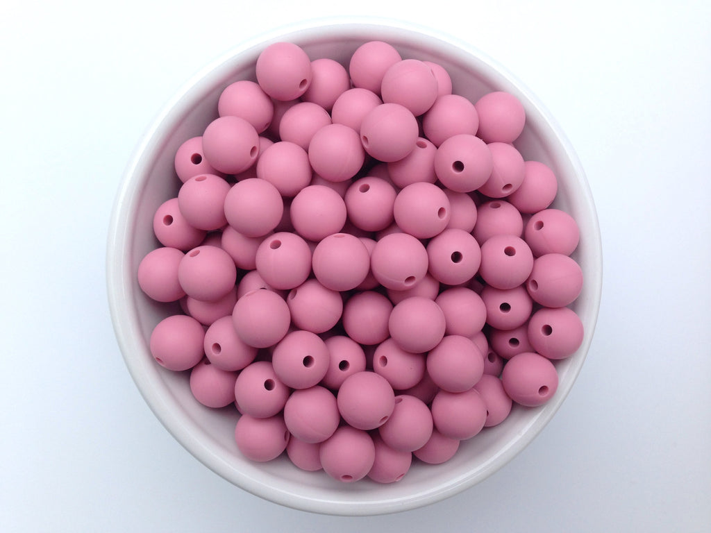 12mm Dusty Rose Silicone Beads