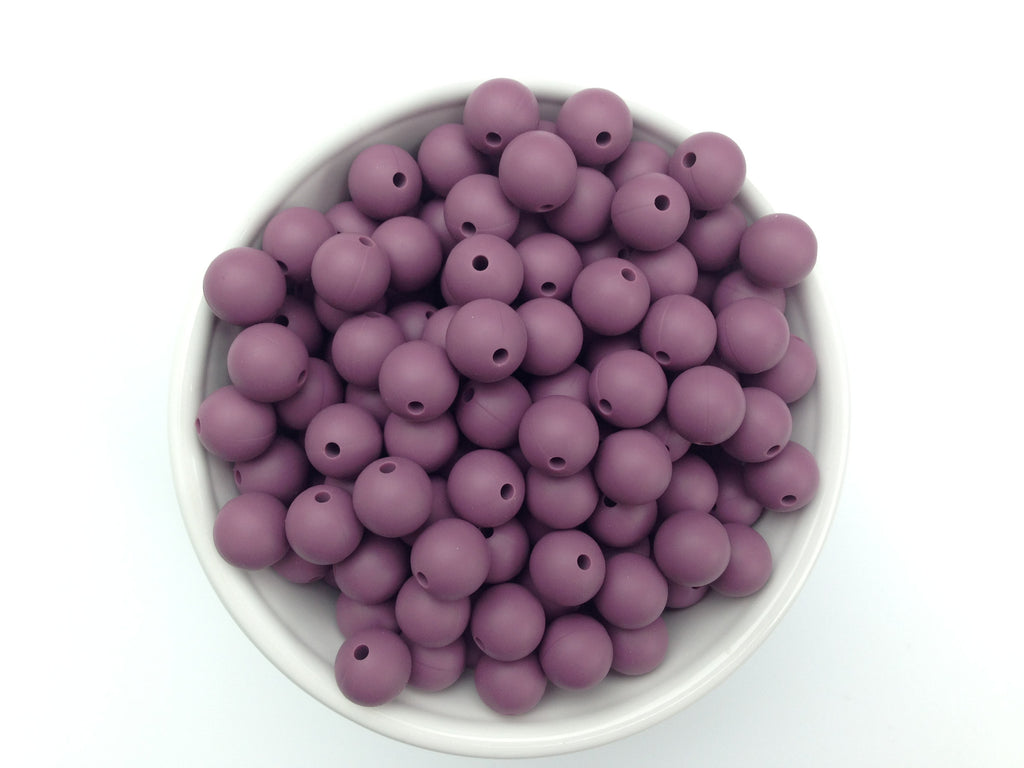 12mm Light Plum Silicone Beads