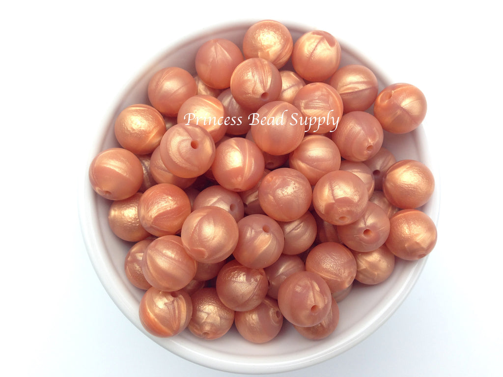 15mm Metallic Rose Gold Silicone Beads