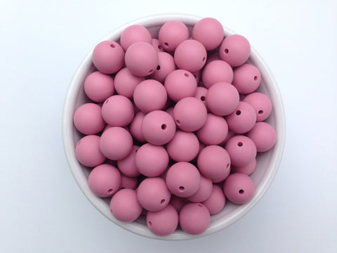 15mm Dusty Rose Silicone Beads