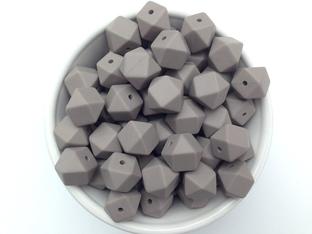 14mm Taupe Mini Hexagon Silicone Beads
