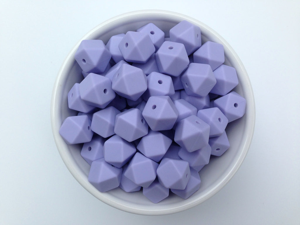 14mm Periwinkle Mini Hexagon Silicone Beads