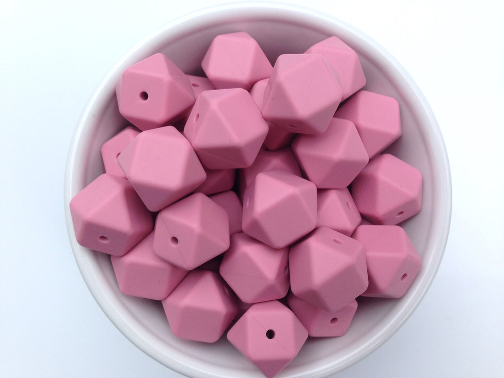 Dusty Rose Hexagon Silicone Beads