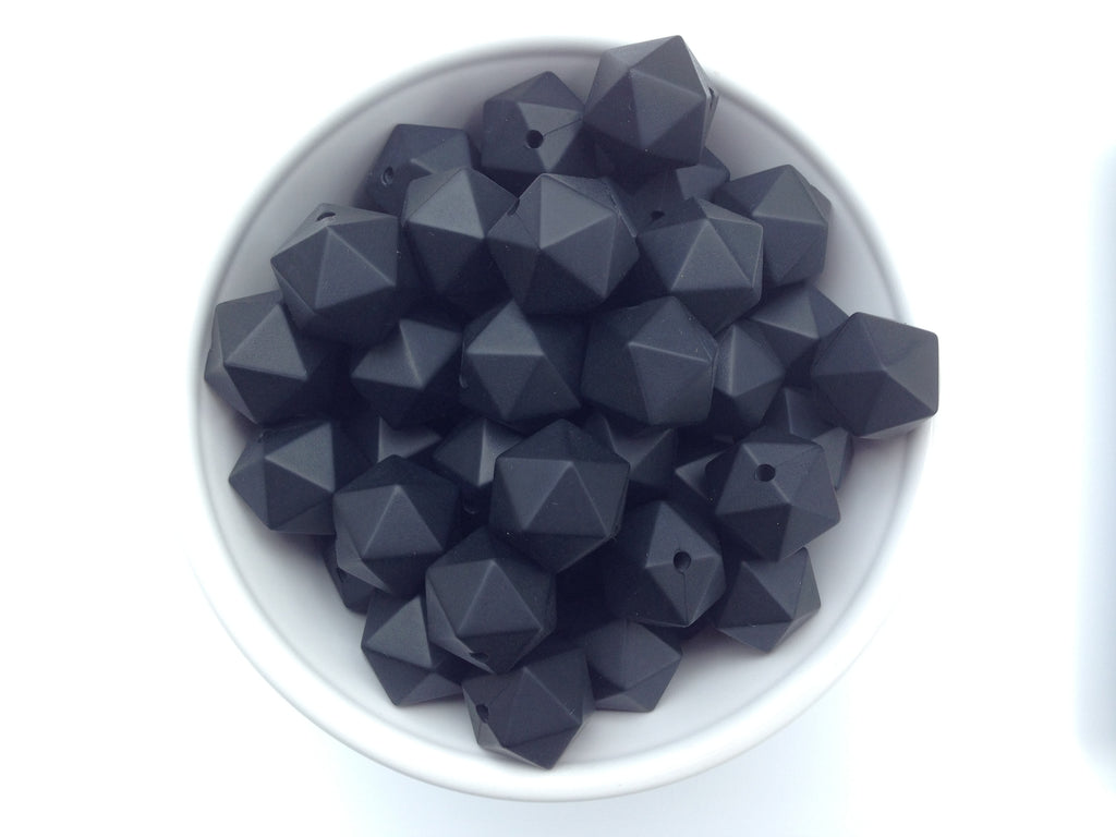 14mm Black Mini Icosahedron Silicone Beads