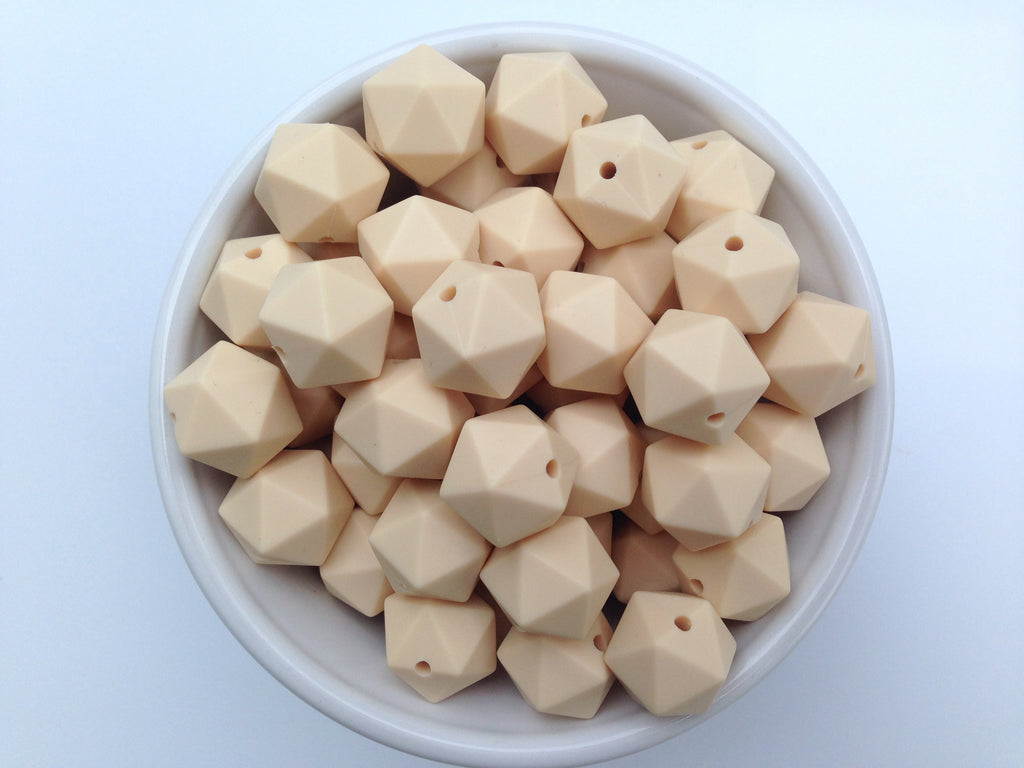 14mm Beige Mini Icosahedron Silicone Beads