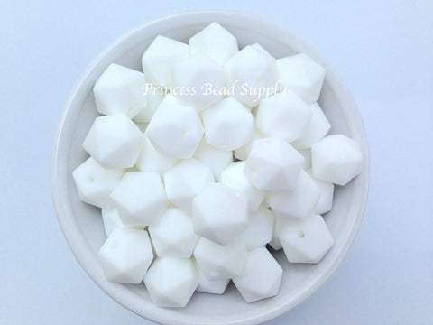 14mm White Mini Icosahedron Silicone Beads