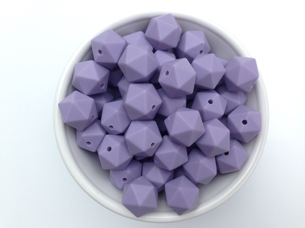 14mm Tropical Lilac Mini Icosahedron Silicone Beads