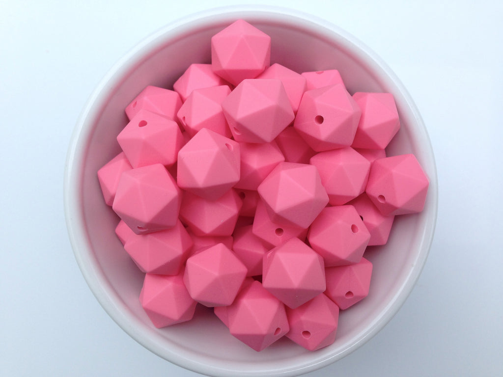 14mm Perfectly Pink Mini Icosahedron Silicone Beads