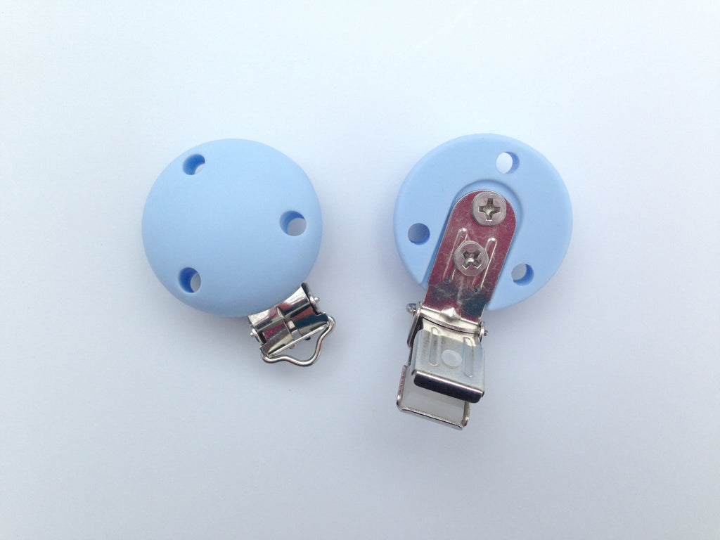 Baby Blue Round Silicone Pacifier Clip
