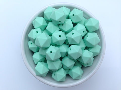 14mm Mint Mini Icosahedron Silicone Beads