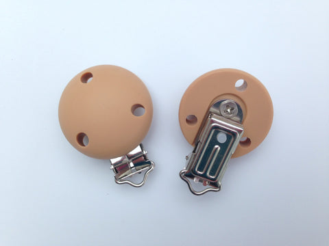 Brown Round Silicone Pacifier Clip--Metal Clip