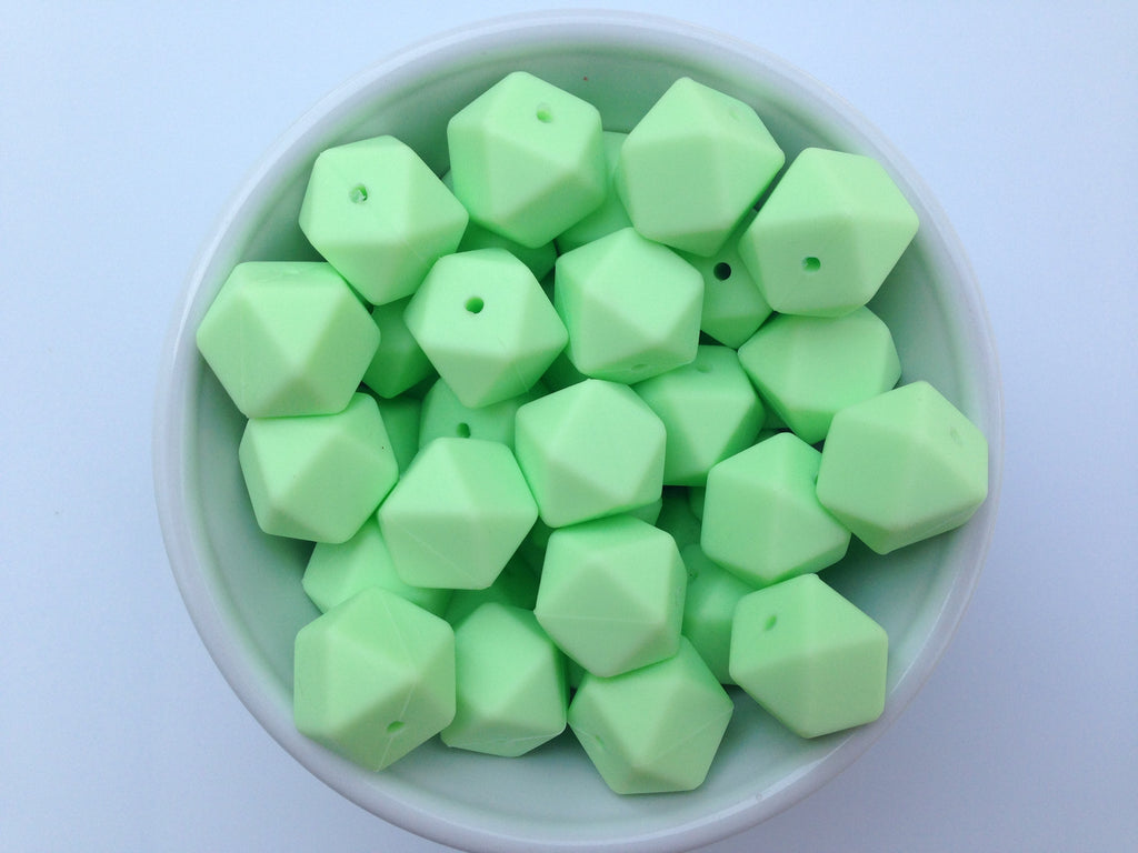 Honeydew Hexagon Silicone Beads