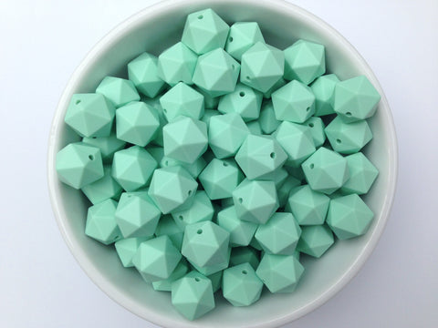 17mm Mint ICOSAHEDRON Silicone Beads